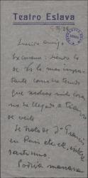 Carta de Manuel Fontanals a Guillermo Fernández-Shaw, citándole para el día siguiente.