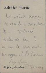 Tarjeta de Salvador Alarma a Guillermo Fernández-Shaw, diciendo que pasará a saludarle.
