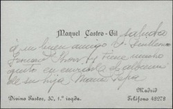 Tarjeta de visita de Manuel Castro Gil a Guillermo Fernández-Shaw, enviándole el albúm de su hija.