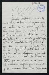 Carta de José D' Hoy a Guillermo Fernández-Shaw, hablando de proyectos teatrales y posibles colaboraciones.