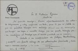Carta de Salvador Alarma a Guillermo Fernández-Shaw, expresando su conformidad con un telegrama de éste.