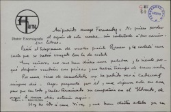 Carta de Salvador Alarma a Guillermo Fernández-Shaw, sobre asuntos varios.