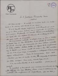 """Carta de Salvador Alarma a Guillermo Fernández-Shaw, con pormenores sobre la escenografía de """"La villana""""."""