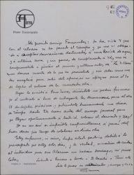 """Carta de Salvador Alarma a Guillermo Fernández-Shaw, pidiéndole que aplacen la fecha del estreno de """"La villana"""" con el fin de poder realizar los decorados prometidos."""