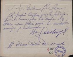 Tarjeta de Manuel de Castro Gil a Guillermo Fernández-Shaw, felicitándole.
