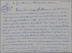 Carta de Fernando Fresno a Guillermo Fernández-Shaw, sobre una cita a la que éste no pudo asistir.