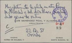Tarjeta de visita de felicitación de Luis Menéndez Pidal.