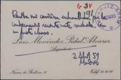 Tarjeta de visita de Luis Menéndez Pidal felicitando por una condecoración otorgada recientemente.