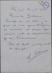 Carta de Luis Calvo a Guillermo Fernández-Shaw, felicitándole por el éxito de una obra suya.