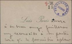 """Tarjeta de visita de Luis París a Guillermo Fernández-Shaw, felicitándole por su obra """"Las alondras""""."""