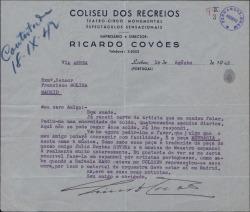 """Carta de Ricardo Covóes a Francisco Molina, manifestándole su deseo de representar en Portugal la obra """"La Severa""""."""