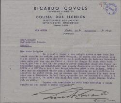 """Carta de Ricardo Covóes a Federico Romero, pidiéndole las condiciones para hacer representar en Portugal la obra """"La Severa""""."""