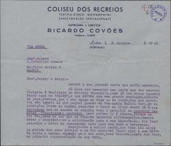 """Carta de Ricardo Covóes a Federico Romero, pidiéndole las mismas condiciones que tuvo otra compañía para representar la obra """"La Severa"""" en Portugal y pidiendo también que le envien el material correspondiente."""