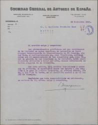 Carta de Eduardo Marquina a Guillermo Fernández-Shaw, invitándole a una reunión especial de la Sociedad de Autores.