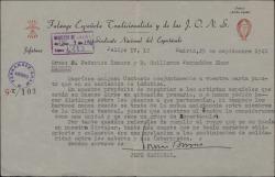 Carta de Tomás Borrás, como jefe del Sindicato del Espectáculo, a Guillermo Fernández-Shaw y Federico Romero, respondiendo a una carta de ambos con respecto al asunto de la repatriación de un grupo de artistas españoles desde Argentina.