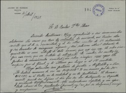 Carta de Javier de Burgos a Guillermo Fernández-Shaw, agradeciéndole las alabanzas a unos versos.