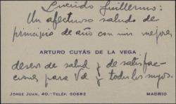 Tarjeta de visita de Arturo Cuyás de la Vega a Guillermo Fernández-Shaw, felicitando el nuevo año.