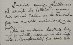 Tarjeta de visita de Arturo Cuyás de la Vega a Guillermo Fernández-Shaw, remitiéndole los folletos de una empresa teatral.