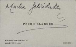 Tarjeta de visita de Pedro Llabrés con una felicitación.
