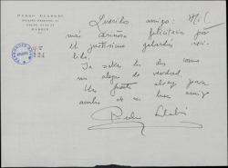 Carta de Pedro Llabrés a Guillermo Fernández-Shaw, felicitándole por un galardón.