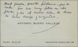 Tarjeta de visita de Antonio Buero Vallejo a Guillermo Fernández-Shaw, agradeciéndole su carta y felicitándole las fiestas.