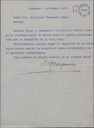 Carta de Eduardo Marquina a Guillermo Fernández-Shaw, agradeciéndole su felicitación por la condecoración que le ha sido otorgada.