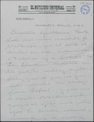 Carta de Valentín Moragas Roger a Guillermo Fernández-Shaw, felicitándole por un éxito teatral.