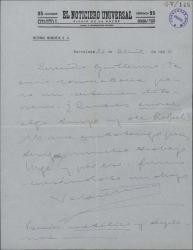 Carta de Valentín Moragas Roger a Guillermo Fernández-Shaw, remitiéndole la convocatoria para un certamen literario.
