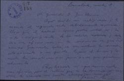 Carta de Javier Regás a Guillermo Fernández-Shaw, sobre la obra que éste le está traduciendo.
