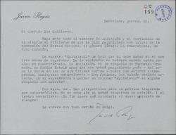 """Carta de Javier Regás a Guillermo Fernández-Shaw, felicitándole por la obtención del Premio Nacional de Género Lírico, y expresando su pesimismo respecto a la temporada teatral con referencias a """"Epitalamio""""."""