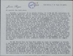 Carta de Javier Regás a Guillermo Fernández-Shaw, con comentarios sobre varias obras teatrales.