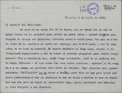 Carta de Javier Regás a Guillermo Fernández-Shaw, sobre varios temas relacionados con obras suyas.