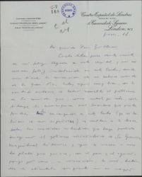"""Carta de Javier Regás a Guillermo Fernández-Shaw, hablándole de su estancia en Londres y pidiéndole su sincera opinión sobre su obra """"Tobruck""""."""