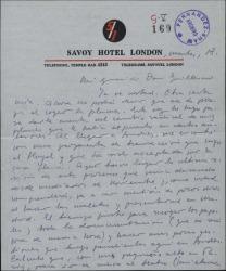 """Carta de Javier Regás a Guillermo Fernández-Shaw, comunicándole un cambio de fechas en sus planes de viaje e interesándose por los avances en la traducción de """"Hymeneo""""."""