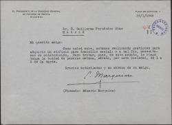Carta de Eduardo Marquina a Guillermo Fernández-Shaw, pidiéndole su colaboración para adquirir un edificio con destino a la Sociedad de Autores.