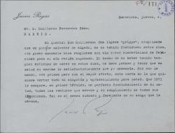 Carta de Javier Regás a Guillermo Fernández-Shaw, felicitándole el nuevo año.