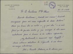 Carta de Javier de Burgos a Guillermo Fernández-Shaw, encargándole unas gestiones a su favor en relación con un puesto vacante en la Sociedad de Autores.