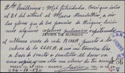 Tarjeta de visita de Javier de Burgos a Guillermo Fernández-Shaw, felicitándole y enviándole un soneto que ha compuesto.