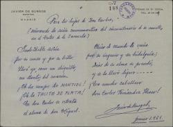 Carta de Javier de Burgos a Guillermo Fernández-Shaw, con un poema dedicado a los hijos de Carlos Fernández Shaw en el cincuentenario de su muerte.