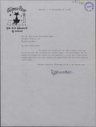 Carta de Alfonso Paso a Guillermo Fernández-Shaw, enviándole unos temas teatrales.