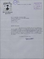 Carta de Alfonso Paso a Guillermo Fernández-Shaw, agradeciéndole sus atenciones y sus felicitaciones.
