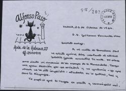 Carta de Alfonso Paso a Guillermo Fernández-Shaw, prometiendo colaborar en un futuro con una sociedad teatral.