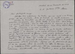 Carta de Antonio Buero Vallejo a Guillermo Fernández-Shaw, comentando incidencias de la velada teatral que organiza la Asociación de Amigos de los Quintero.