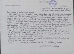 Carta de Antonio Buero Vallejo a Guillermo Fernández-Shaw, intercediendo a favor de un camarero que ha solicitado la concesión del bar del Teatro de la Zarzuela.
