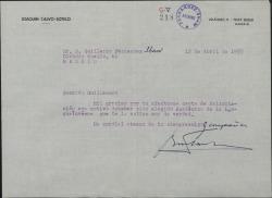 Carta de Joaquín Calvo-Sotelo a Guillermo Fernández-Shaw, agradeciéndole la felicitación por haber sido elegido Académico de la Lengua.
