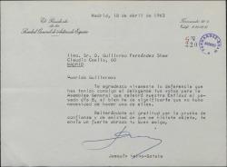 Carta de Joaquín Calvo-Sotelo a Guillermo Fernández-Shaw, agradeciéndole una prueba de confianza.