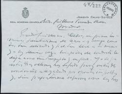 Tarjeta de Joaquín Calvo-Sotelo a Guillermo Fernández-Shaw, expresándole su estima y deseándole feliz 1963.