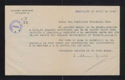 Carta de Joaquín Álvarez Quintero a Guillermo Fernández-Shaw, agradeciéndole el recuerdo para su hermano, en el segundo aniversario de su fallecimiento.