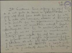 Carta de Serafín Adame a Guillermo Fernández-Shaw, pidiéndole información del homenaje a Jacinto Benavente para publicarla en la prensa.