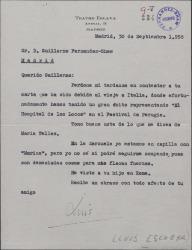 Carta de Luis Escobar a Guillermo Fernández-Shaw, contestando a una carta suya.
